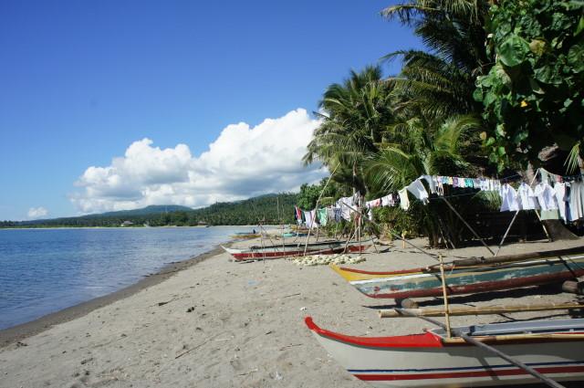 Busy coastal community beach