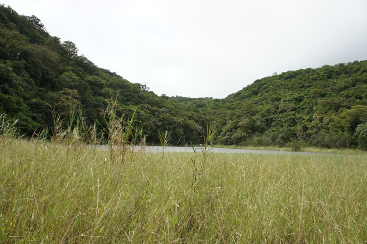 Lake Aguingay's surface water area varies according to season.