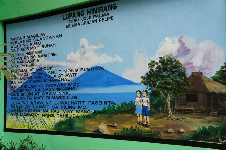 Bulusan Volcano in a school mural