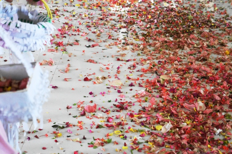 Confetti of petals offered by the 'flores' participants fill the church floor with colors and fragrance.