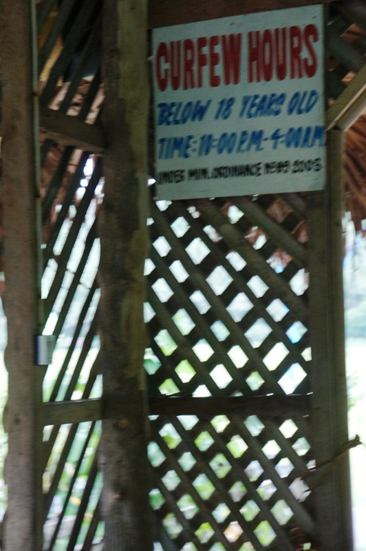 Little Boracay of Bulusan with curfew reminder on the wall.