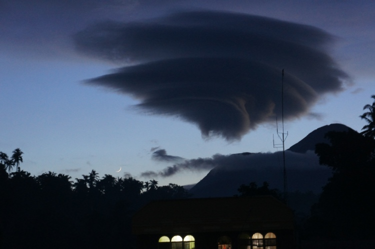 Massive lenticular cloud formation above Mt. Bulusan