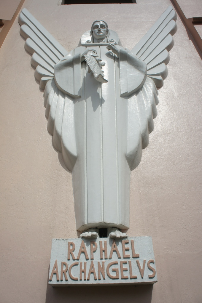 Bas relief of Saint Raphael at the facade of Saint Raphael Church in Legazpi City