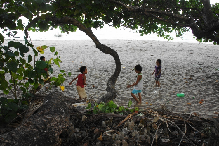 The beach as playground for these coastal community children in Dancalan, Bulusan
