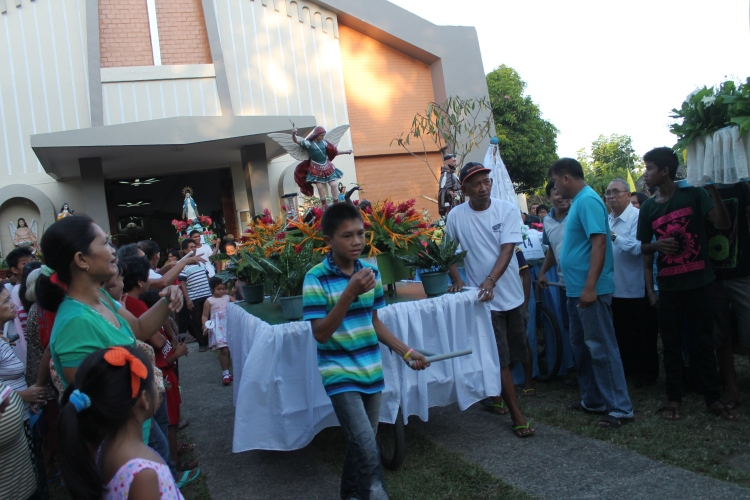 Village saints lined the entrance of the parish church for the procession. (Bulusan, July 24, 2015)