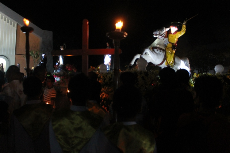 Saint James the Greater in his most identifiable image -- a galloping horse and a sword in the final procession of the fiesta. (Bulusan, July 24, 2015)