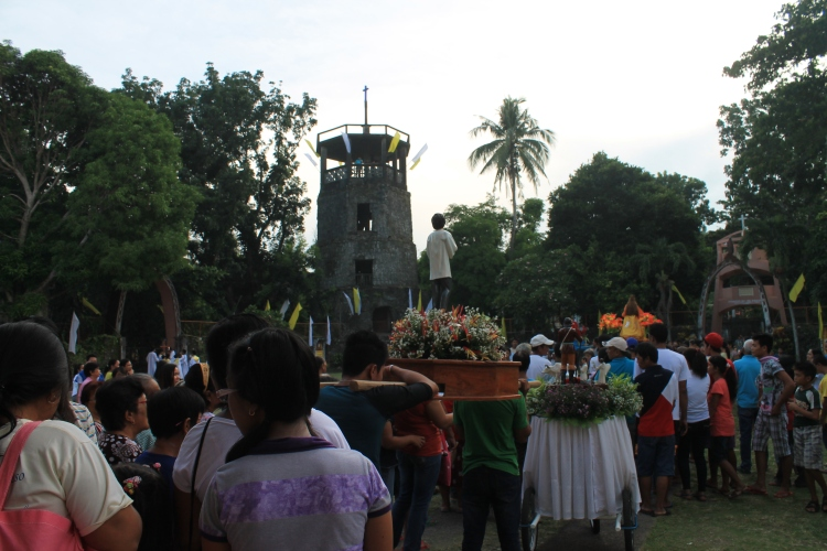Scene at the church grounds during the pre-fiesta procession.
