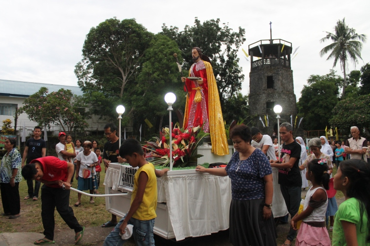 Saint James the Greater, the Apostle image during the novenario procession in Bulusan.