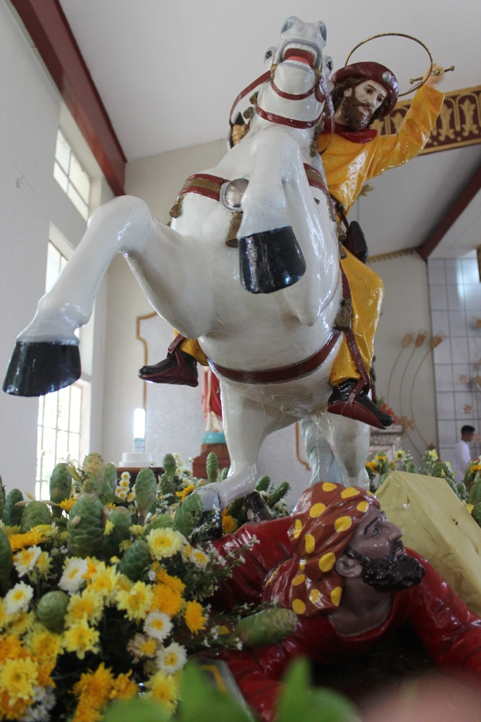 Equestrian image of St. James the Greater can be seen at the Parish Church of Bulusan during the fiesta celebrations