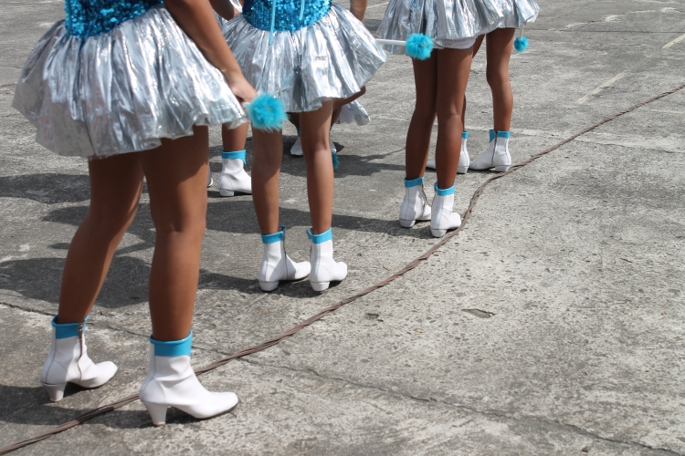 Silver and blue DLC uniforms for this local high school blend beautifully with the sunny day fiesta celebrations. (Bulusan, July 24, 2015)
